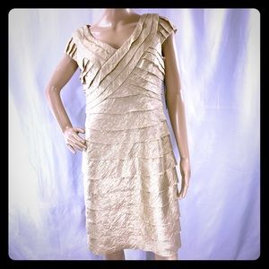 London Times Gold Tiered Formal Above Knee Dress